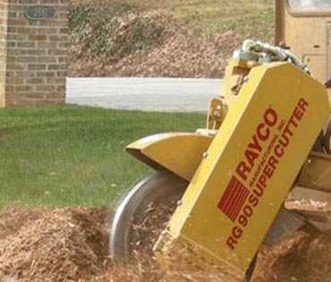 self propelled stump ginder removing a tree stump in a front yard